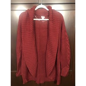 •• Red Oversized Cardigan ••